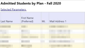 Example Admitted Students by Plan image