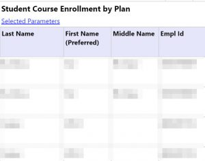 Screenshot of the Student Course Enrollment by Plan Report