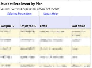 Example of the Student Enrollment by Plan Report